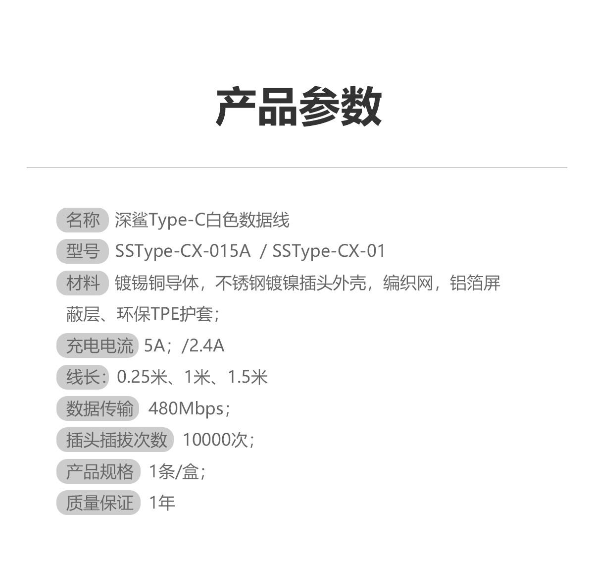 """""""1、材料:镀锡铜导体,不锈钢镀镍插头外壳,环保阻燃TPE护套; 2、额定电流:2.4A 5A; 3、数据传输:480Mbps; 4、插头插拔次数:10000次; 5、产品规格:1条/盒; 6、质量保证:1年。 """""""