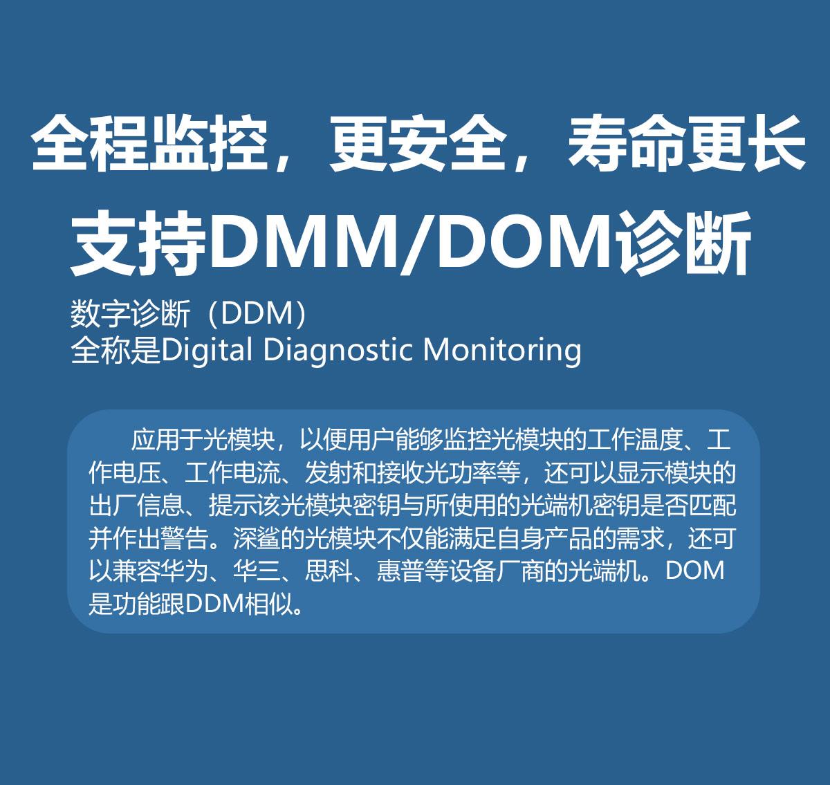 全程监控 更安全 寿命更长 支持DMM DOM 诊断 DDM全程 digital diagnosis monitoring 应用于光模块一遍用户能够监控光模块的工作温度、工作电压、工作电流、发射接受光功率等,还可以显示模块的出场信息,提示光模秘钥与所使用的的光端机秘钥是否匹配并作出警告。深鲨的光模块不仅能满足自身产品需求,还可以兼容华为、华三、思科、惠普等设备厂商的光刻机。DOM功能与DDM相似