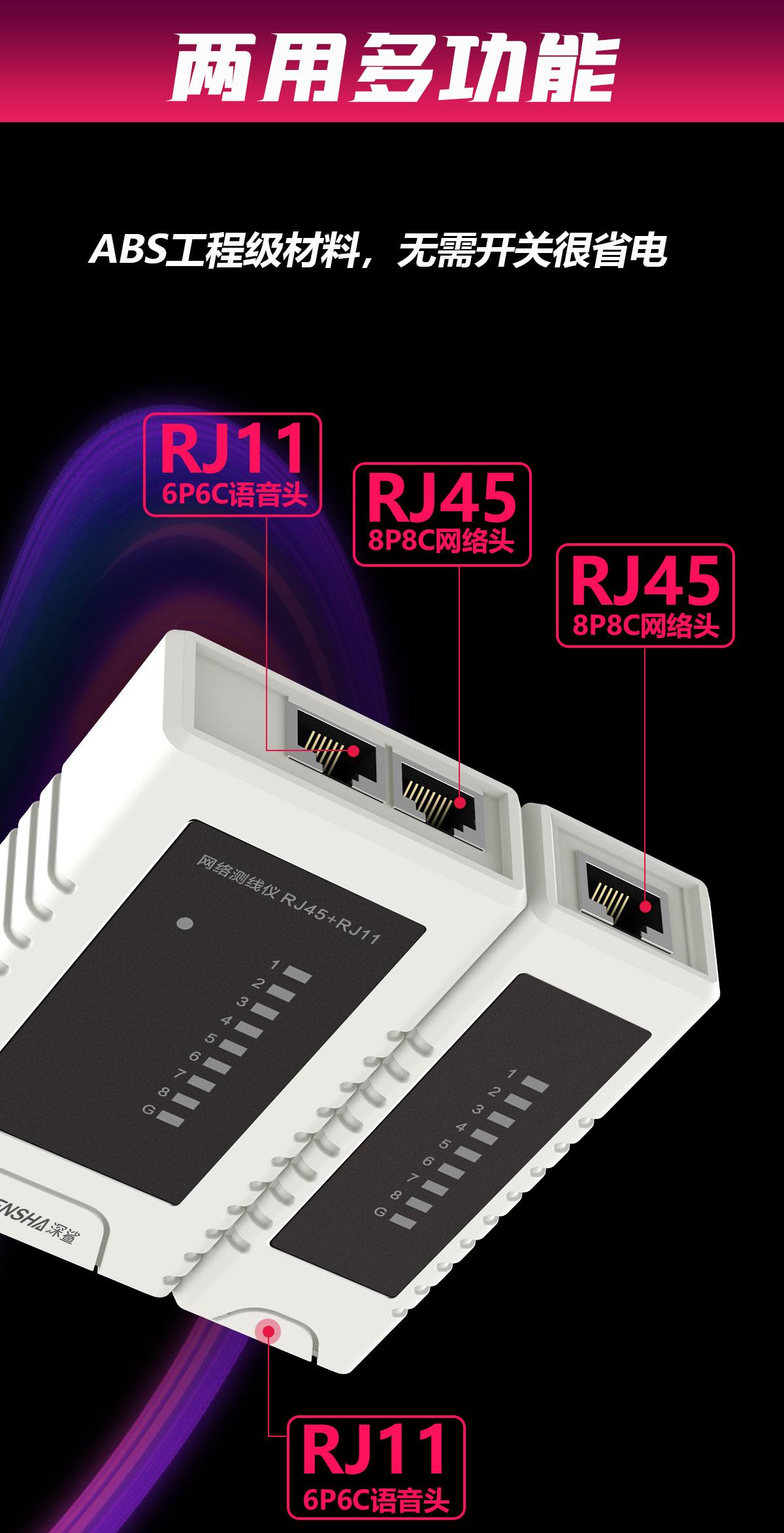 两用多功能 ABS工程级材料 无需开关很省电 RJ11 6p6c语音头 RJ45 8p8c网络投 RJ45 8p8c网络投 RJ11 6p6c语音头