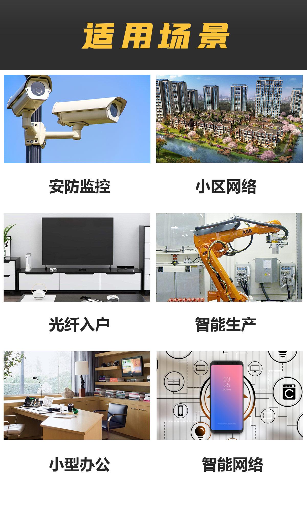 适用场景 安防监控 小区网络 光纤入户 智能生产 小型办公 智能网络