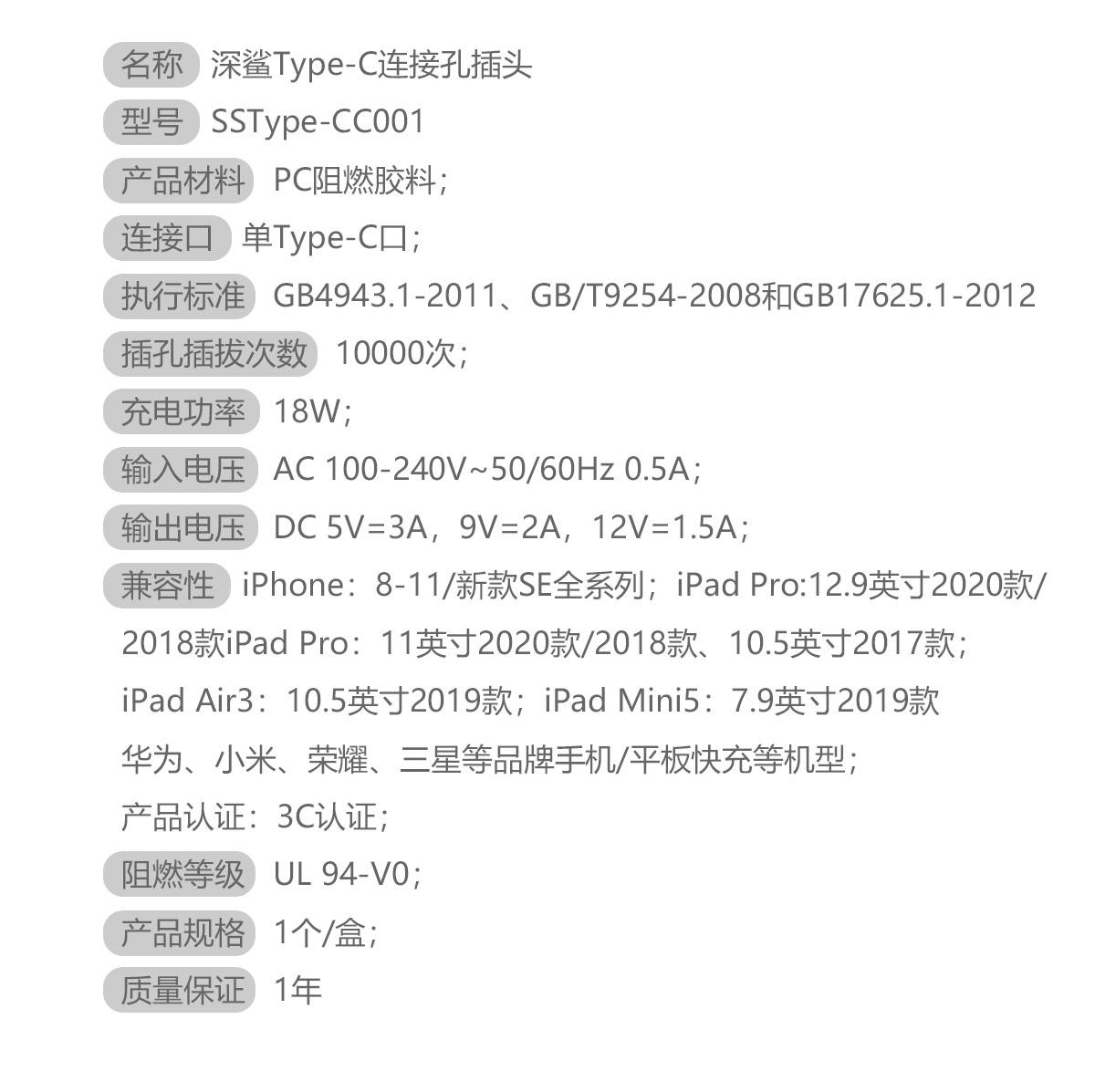 名称 深鲨Type-C连接孔插头 型号 SSType-CC001 产品材料 PC阻燃胶料 连接口 单Type-C口 执行标准 GB4943.1-2011、GB/T9254-2008、GB17625.1-2012 插孔插拔次数 10000次 充电功率 18W 输入电压 AC 100~240V 50/60Hz 0.5A 输出电压 DC 5V=3A,9V=2A,12V=1.5A 兼容性 iPhone全系列、iPad全系列、Mac、华为、小米、荣耀、三星等品牌手机、平板快充机型 产品认证 3C认证 阻燃等级 UL 94-V0 产品规格 1个/盒 质量保证 1年